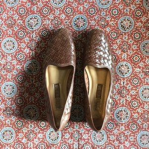 Brown Woven Bohemian Loafer Flats Size 8